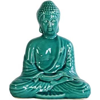Urban Trends Porcelain Meditating Buddha Figurine with Rounded Ushnisha in Dhyana Mudra Turquoise