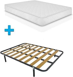 Duermete Cama Completa Colchón ConfortVisco Reversible + Somier Basic con 4 Patas 27cm, 90 x