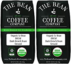 The Bean Coffee Company Organic Decaf Le Bean, Dark French Roast, Ground, 16-Ounce Bags (Pack of 2)
