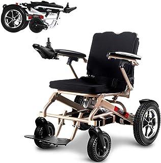 AOLI Silla de ruedas eléctrica plegable portátil ligero, plegable plegable de alimentación compacto ayuda motriz sillas de ruedas, batería dual, más larga gama de conducción de energía silla de rueda