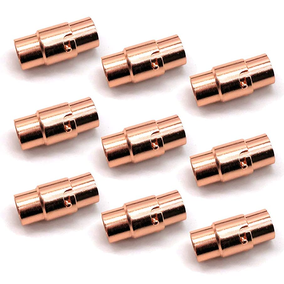 REVEW 10sets Magnetic Locks Glue in Clasps Magnetic Clasps for Leather Jewelry Clasps for Leather Magnetic Clasps for Jewelry Rose Gold (4-10)