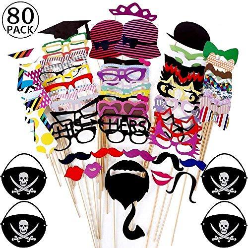 80 Pcs DIY Photo Booth, BESTZY Nuevo Estilo Photocall Atrezzo Favorecer Incluyendo cómica divertida creativa...