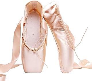 Chaussures de Danse Filles/Femmes Chaussures de Ballet Pointe avec Ruban et Boutons de Pied
