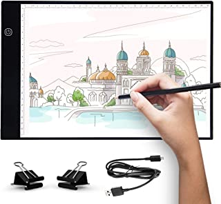 UKON A4 LED Light Box Drawing Light Pad Art Tracing Xray Light Board for Tracer Kids Artists Diamond Painting with Dimmable Brightness for Embroidery Sketching Animation Stenciling (A4)