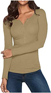 TWGONE Fall Shirts for Women Long Sleeve V Neck Solid Button Down Basic Tops Tees