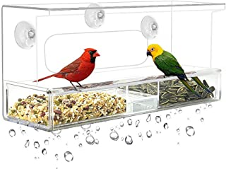 Cq acrylic Window Bird Feeder, Extra Strong Suction Cups, Removable Tray with Drainage Holes,3 Extra Suction Cups, Acrylic Clear Design to Enjoy Bird Watching in The Comfort of Your Home