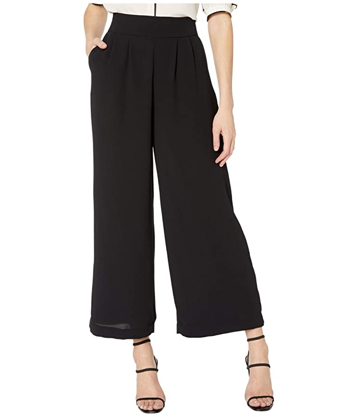 1.STATE  Basket Weave Crepe Wide Leg Cropped Pants (Rich Black) Womens Casual Pants