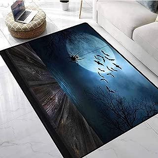 Halloween Decorations Rugs for Living Room Misty Lake Scene Rusty Wooden Deck Spider Eyeball and Bats Moonlight Kitchen Room Floor Mat Rug 48 X 60 Inch