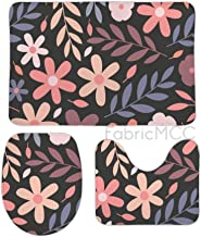 Bath Rugs for Bathroom Non-Slip Absorbent Bathroom Rug, Floral Print Flower Pink Floral Design Design Peach Pedicel 3 Piec...