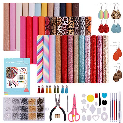 36 Pieces Leather Earring Making Kit Include Instructions, Faux Leather Sheet, Templates, Earring Hooks, and Complete Tools for Making Leather Earrings Bows and Crafts, 6.3 '' x 8.3 ''