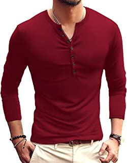Mens Casual Slim Fit Basic Henley Long Sleeve Fashion...