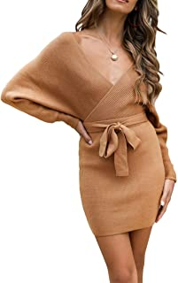 Women's Long Batwing Sleeve Wrap V Neck Knitted Backless...