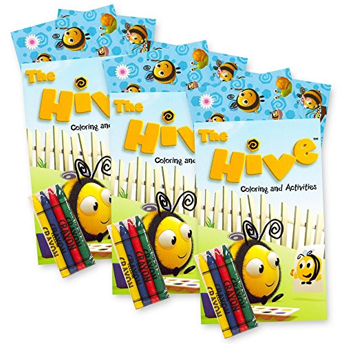The Hive Bumble Bee Coloring and Stickers Party Favors Pack -- Over 60 Stickers, 3 Toddler Coloring Books, 12 Crayons (Party Supplies)