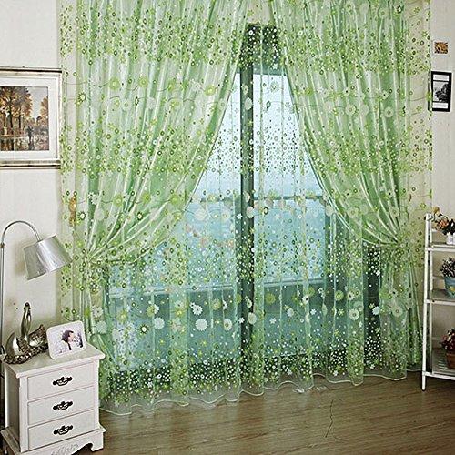 Best of Best Store Rideaux occultants en gaze de mousseline de soie Motif floral Vert 100 x 270 cm