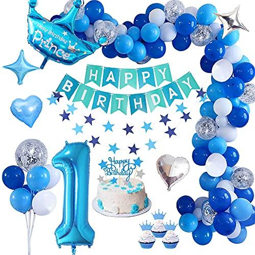 Decoracion Cumpleaños 1 Año, TOLOYE Cumpleaños 1 Año Bebe Niño Globos Decoracio,Azul Pancarta de Feliz Cumpleaños , Globos Papel de Aluminio Corazón Estrella para Fiesta Cumpleaños Baby Showers