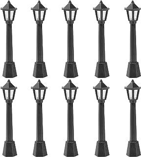 BESPORTBLE 5PCS Dollhouse Miniature Street Lights Mini Street Lamps Post Lights Pathway Lanterns Dollhouse Streetlights Model for Micro Landscape Fairy Garden Accessories Black