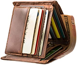 Wallets for Men Slim Genuine Leather Tri-fold Flip Pocket Wallet Cash Passport Card Coins Cases & Money Organizers, Top La...