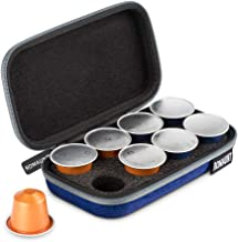 Protective Carrying Case Compatible for Nespresso Orignalline Capsules Travel Coffee Pods Holder Portable Espresso Maker Lightweight Hard Shell Holds 8 Pods Blue