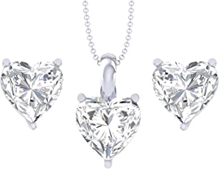 Clara 92.5 Sterling Silver Heart Solitaire Pendant Earring Jewellery Set Gift for Women & Girls