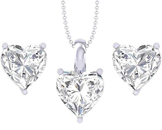 Clara 92.5 Sterling Silver Heart Solitaire Pendant Earring Jewellery Set