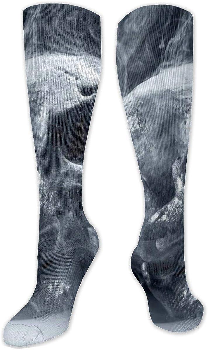Cool Skull Head Pattern Knee High Socks Leg Warmer Dresses Long Boot Stockings For Womens Cosplay Daily Wear