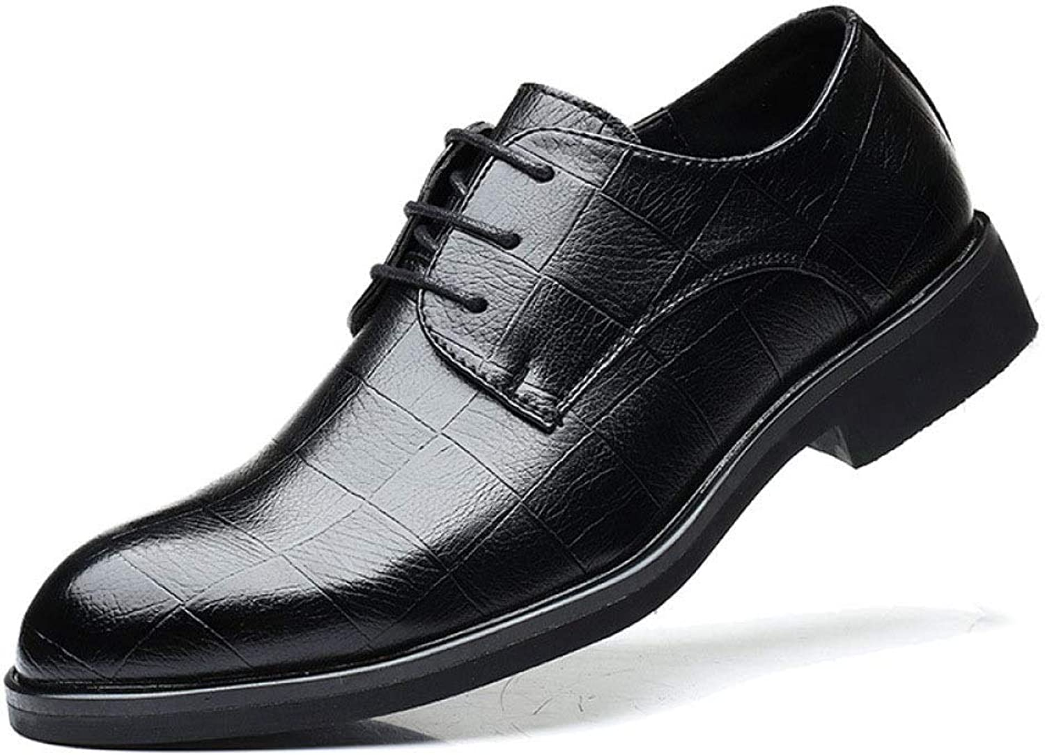 YongBe Men's Leather shoes Lace-ups Platforms Formal Derby Smart shoes Classic Commerce Wedding Party shoes