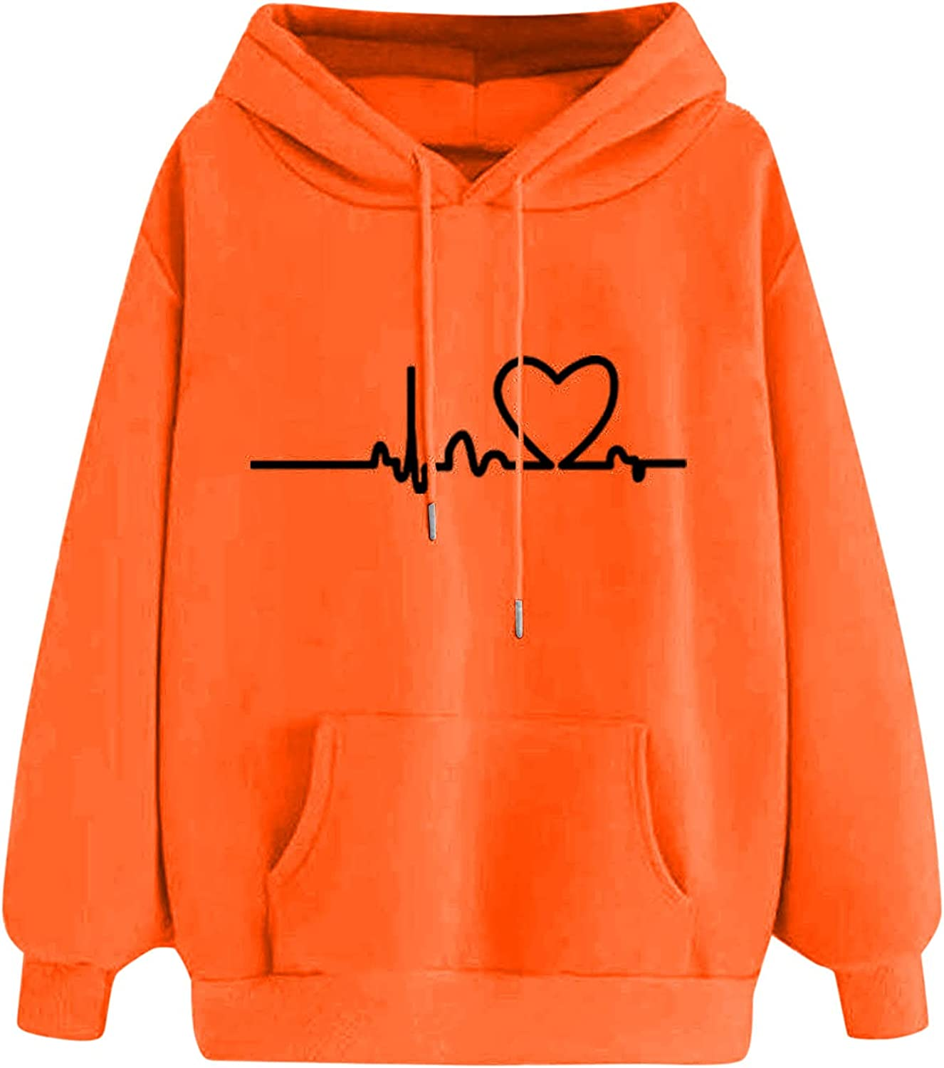 GXLONG Hoodies for Women Pullover sold out Print Heart Love Crewnec Austin Mall Funny