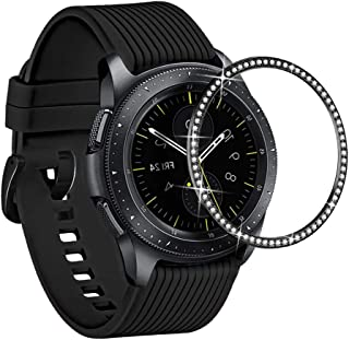 Supoix Compatible for Samsung Galaxy Watch 42mm Bezel Ring,Stainless Steel Diamond Styling Bezel Adhesive Cover Protector for Galaxy Watch 42mm/Gear Sport Watch Accessories-Black