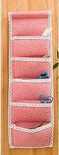 ABBY CHAMBERS Linen Cotton Wall Hanging Storage Bag for Sundries Bra Socks Toys Closet Wardrobe Home Storage,Design 2