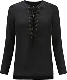Casual Tops Vintage Blouse Women Women Solid Long Sleeve Cross Bandage Top Blouses Tee (Color : Black, Size : S)