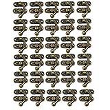 30 set antiguo cerrojo de gancho de cierre derecho La caja de la joyería de madera cubre la decoración con tornillos de repuesto, tono bronce