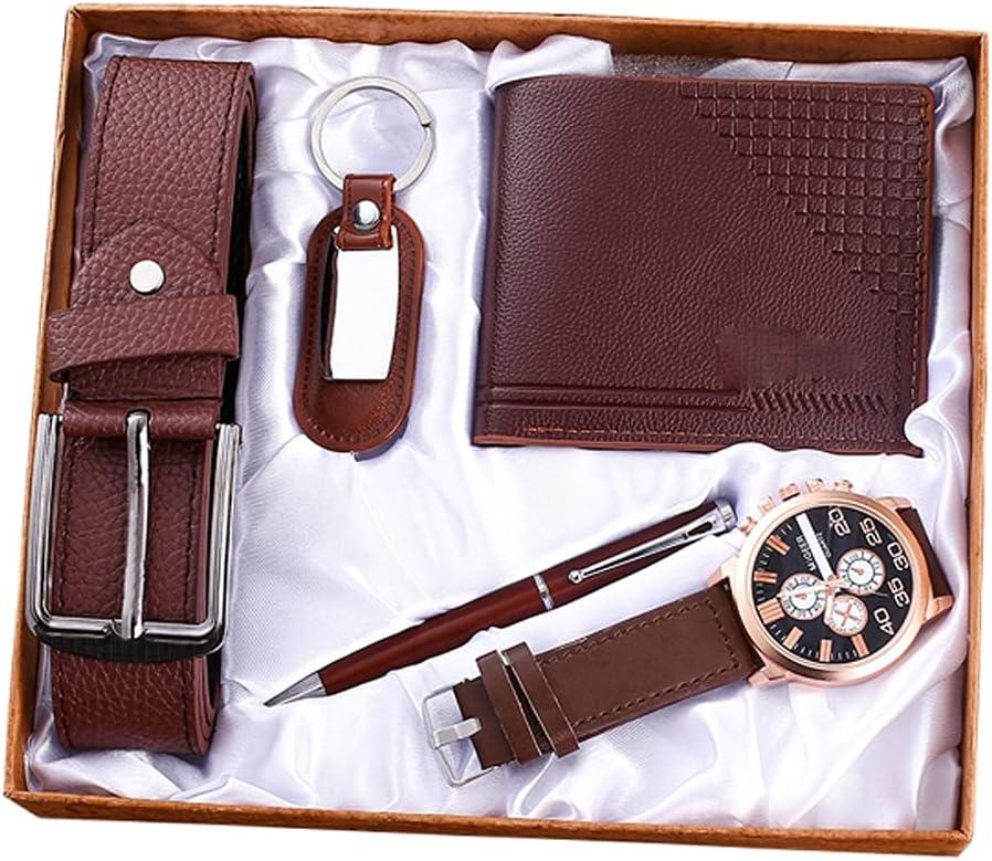 JJSPP Cuero marrón 5pes / Set Juego de Regalo para Hombres Reloj bellamente empaquetado Cinturón Monedero Llavero Pluma Combinación Informal Relojes para niños y Amigos
