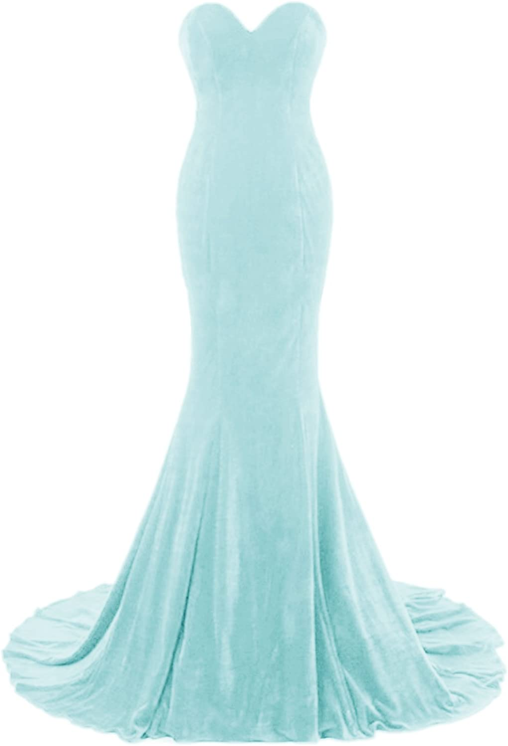 APXPF Womens Sweetheart Mermaid Velvet Fromal Prom Dress Evening Gown With Long