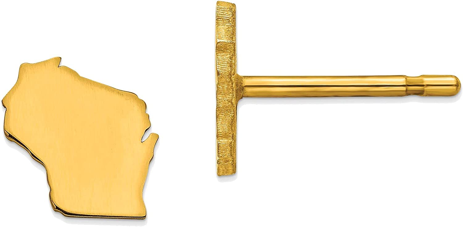 14kt Yellow Gold WI Small State Earring