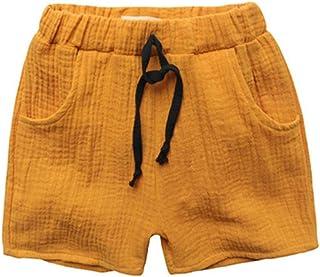 Surprise S Solid Colors Kids Trousers Children Pants Beach Shorts Size90~130 Linen Soft