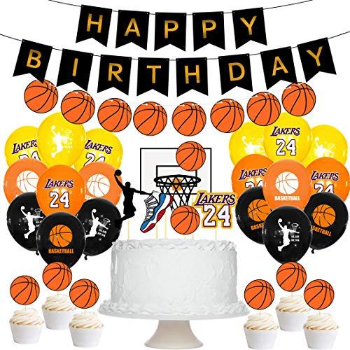 Suministros de Fiesta de Cumpleaños de Baloncesto - YUESEN 27 PCS Banner de Cumpleaños de Baloncesto Cupcake Toppers Baloncesto Foil Globos para niños Baloncesto Deporte Tema Fiesta de cumpleaños Deco