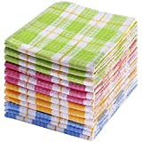 TNYKER Kitchen Dish Cloths, 12pcs 14 x 16 Inches, 100% Cotton Windowpane Dishcloths, Super Soft and Absorbent Dish Rags for Washing Dishes, Machine Washable (Mix Color)