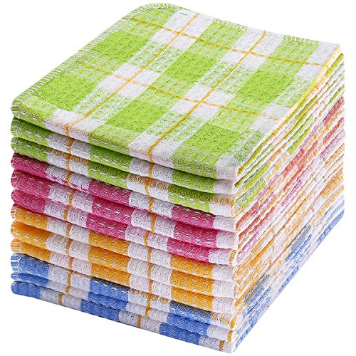 Kitchen Dish Cloths, 100% Cotton Kitchen Towels and Dishcloths Set of 12, Soft and Absorbent 14x16 Inch Dish Cloths for Washing Dishes & Drying Dishes, Windowpane Kitchen Dish Towels, Machine Washable