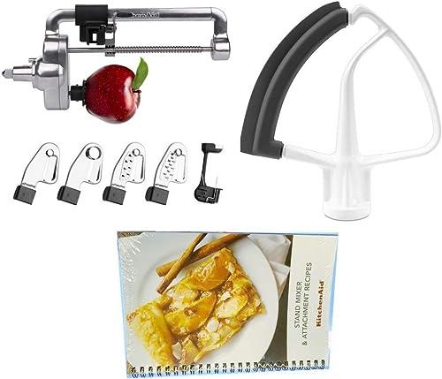 high quality KitchenAid popular DRTVICE6 Combo Package sale Spiralizer KSM1APC Flex Edge Beater KFE5T Stand Mixer Attachment Recipe Book online sale