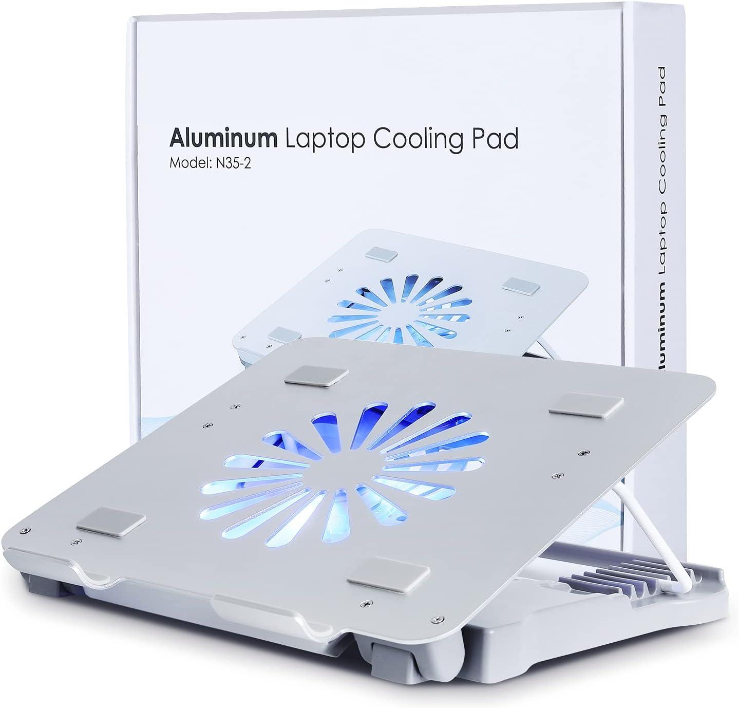 Base de refrigeración para portátil con ventilador, de aluminio para ordenador portátil de 17 pulgadas, luz LED azul, dos puertos USB, color plateado