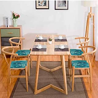 Animal Dining Chair Pad Silhouette of a King Lion Tiger on Wooden Oak Planks Hippie Style Retro Image Print Durable Cadet Blue W13.5