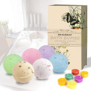 BMK Bath Bombs Gift Set 6 Dried Flower Bath Fizzies and 6 Candles Dry Flower Natural Organic Essential Oil Handmade for Bathtub Valentine's Gift Ideas Kits for Family and Friends