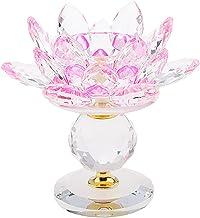 MagiDeal Crystal Lotus Flower Candle Holder Tealight Holder Candlestick Crafts Home Feng Shui Decor - Pink