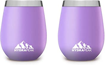 Hydrapeak 12oz Stemless Insulated Wine Tumbler Cup with Lid 18/8 Stainless Steel Double Wall Vacuum Insulated Wine Glass (2-Pack, Lilac)