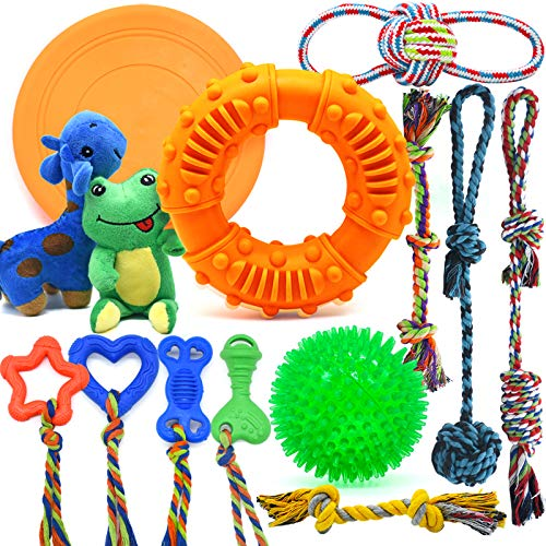 Dog Chew Toys for Puppies Teething, Super Value 14 Pack Puppy Toys for Small Dog Toys Squeaky Toys for Dogs Rubber Ball Dog Rope Toy Durable Pet Toys for Dogs Interactive Plush Dog Toys