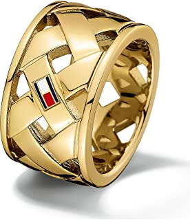 TOMMY HILFIGER WOMEN'S BRASS & IONIC GOLD PLATING STEEL RINGS -2701024F