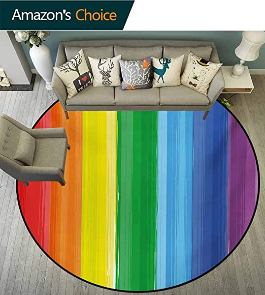 Rainbow Modern Machine Washable Round Bath Mat Brush Marked Rainbow Colored Lines In A Modern Artwork Flag Pattern Pride Theme Non Slip Living Room Soft Floor Mat Diameter 24 Inch