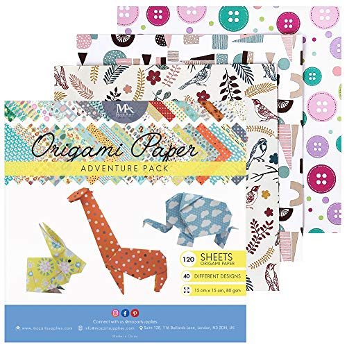 MozArt Supplies – Origami Papier Adventure Pack Set – 120 Faltblätter – traditionelles japanisches Bastelpapier mit 40 Mustern, Blumen, Tieren, Azteken – basteln Sie Blumen, Kraniche, Vögel
