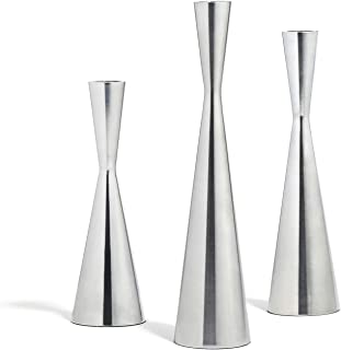LampLust Taper Candle Holders Set of 3 - Silver Finished Tall Candlesticks, Fits Standard Tapered Candles, Table Centerpiece or Modern Decor