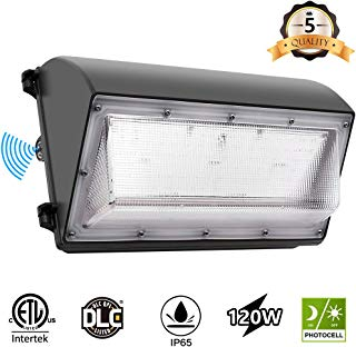 CINOTON LED Wall Pack Light, 120W 14400 Lumen, 5000K Daylight Dusk to Dawn Photocell Outdoor Wall Light, Waterproof IP65 Commercial Lighting Fixture,125W-500W HPS/MH Replacement, ETL DLC Listed